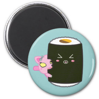 Kawaii Sushi Roll with Nadel the Cat 2 Inch Round Magnet