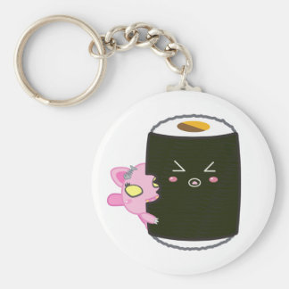Kawaii Sushi Roll with Nadel the Cat Basic Round Button Keychain