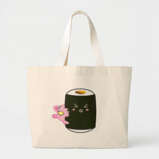 Kawaii Sushi Roll with Nadel the Cat Large Tote Bag
