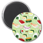 Kawaii Sushi with faces 2 Inch Round Magnet