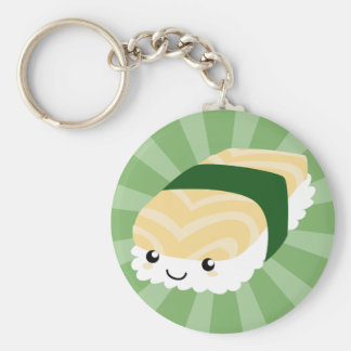 Kawaii Sushi with faces Basic Round Button Keychain