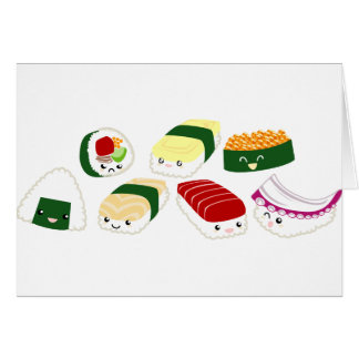 Kawaii Sushi with faces Card
