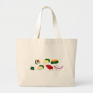 Kawaii Sushi with faces Large Tote Bag