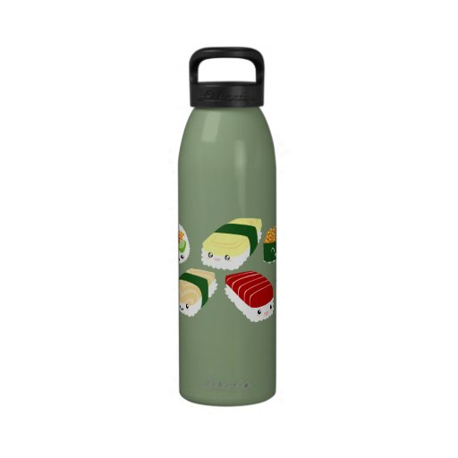 Kawaii Sushi with Faces Liberty Bottle Water Bottles