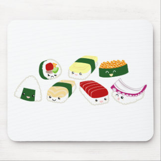 Kawaii Sushi with faces Mouse Pad