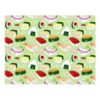 Kawaii Sushi with faces Postcard