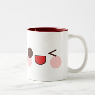 Kawaii Sweet Winky Face Happy Eyes Friend Two-Tone Coffee Mug