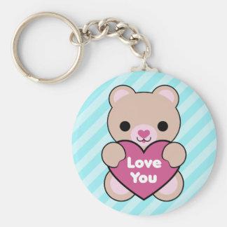 Kawaii Teddy Bear Basic Round Button Keychain