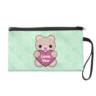 Kawaii Teddy Bear Love Heart Wristlet Bag