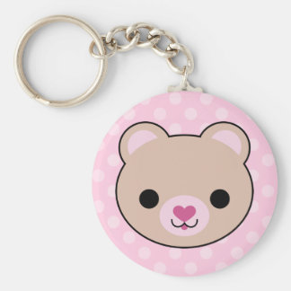 Kawaii Teddy Bear Pink Polka Dots Basic Round Button Keychain