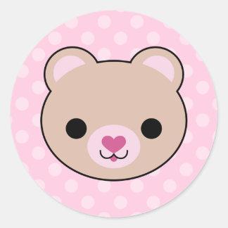 Kawaii Teddy Bear Pink Polka Dots Stickers