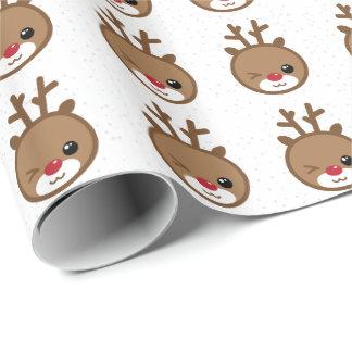 Kawaii the Red Nose Reindeer Christmas Gift Wrap