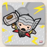 Kawaii Thor With Lightning Drink Coaster