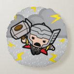 Kawaii Thor With Lightning Round Pillow