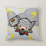 Kawaii Thor With Lightning Throw Pillow