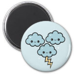 Kawaii Thunder Clouds 2 Inch Round Magnet