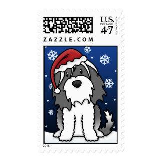 Kawaii Tibetan Terrier Christmas Postage Stamps