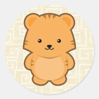 Kawaii Tiger Classic Round Sticker