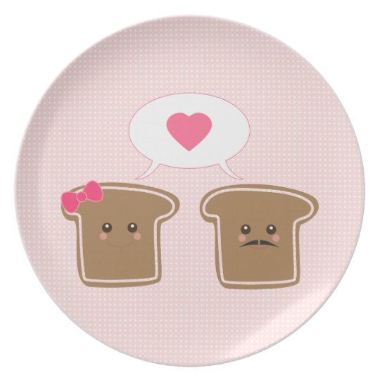 Kawaii Toast Love Melamine Plate