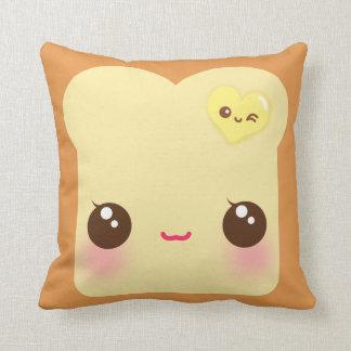 Kawaii toast with cute heart butter throw pillow