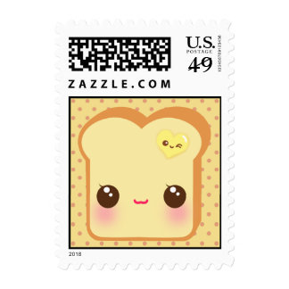 Kawaii toast with cute heart butter postage stamps