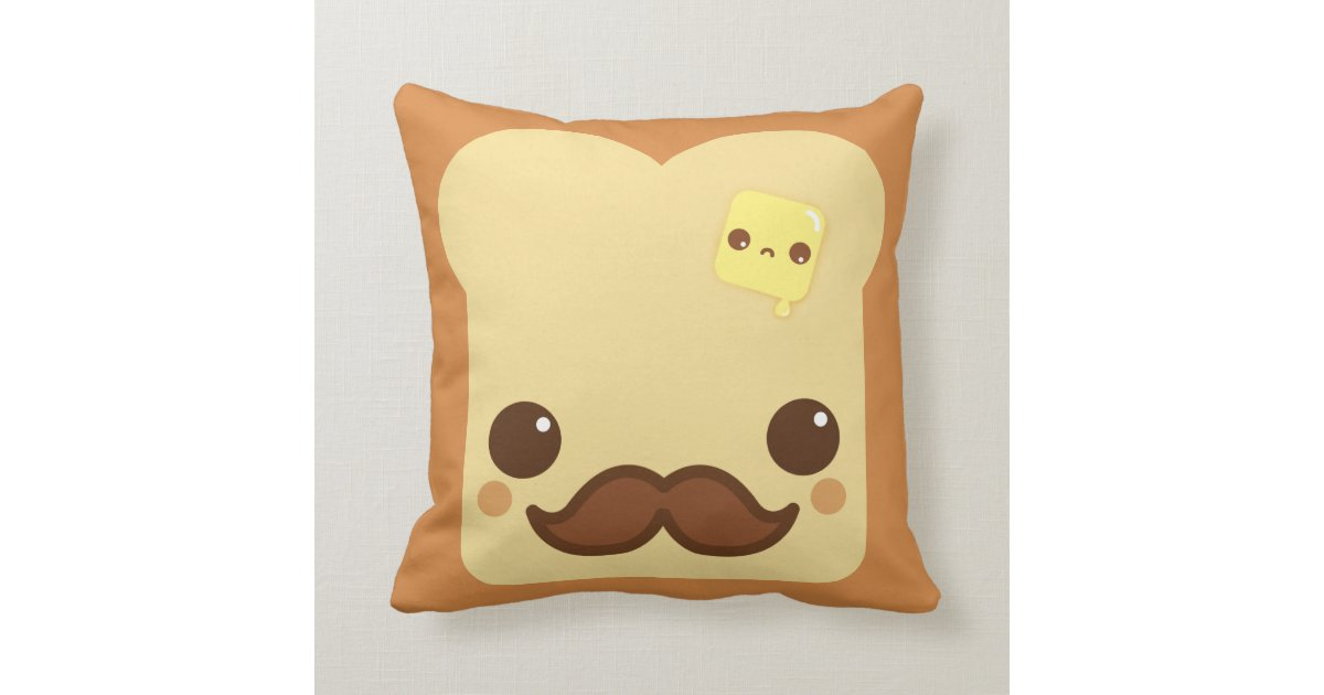 Kawaii toast with mustache and cute butter throw pillow Zazzle.com