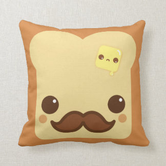 Kawaii toast with mustache and cute butter throw pillows