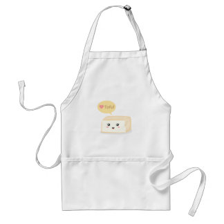 Kawaii tofu asking people to love tofu adult apron