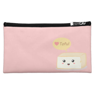 Kawaii tofu asking people to love tofu makeup bags