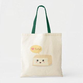 Kawaii tofu asking people to love tofu bags