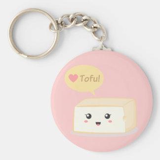 Kawaii tofu asking people to love tofu basic round button keychain