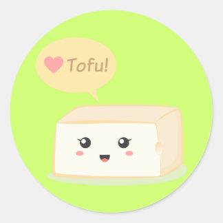 Kawaii tofu asking people to love tofu classic round sticker