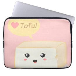 Kawaii tofu asking people to love tofu computer sleeve