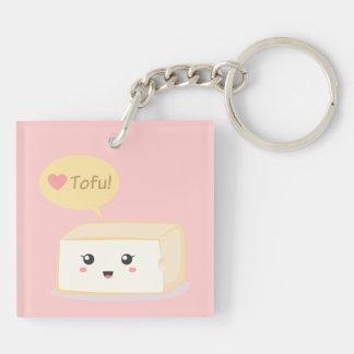 Kawaii tofu asking people to love tofu keychain