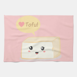 Kawaii tofu asking people to love tofu kitchen towel