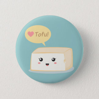 Kawaii tofu asking people to love tofu pinback button