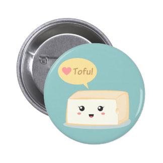 Kawaii tofu asking people to love tofu pinback button