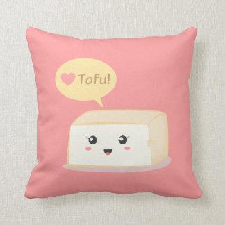 Kawaii tofu asking people to love tofu throw pillow