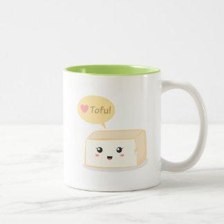 Kawaii tofu asking people to love tofu Two-Tone coffee mug