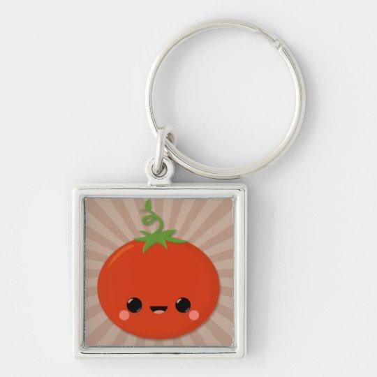 Kawaii Tomato on Brown Starburst Keychain