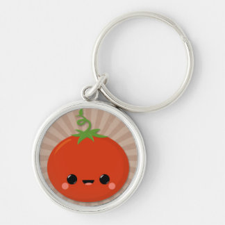 Kawaii Tomato on Brown Starburst Silver-Colored Round Keychain