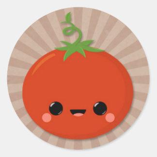 Kawaii Tomato on Brown Starburst Classic Round Sticker