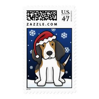 Kawaii Treeing Walker Coonhound Christmas Stamps