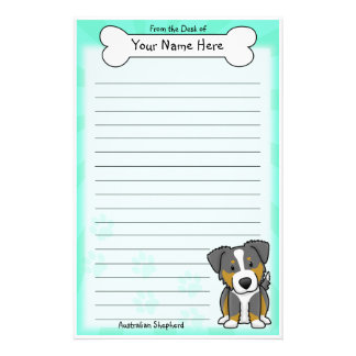 Kawaii Tri Color Australian Shepherd Stationery