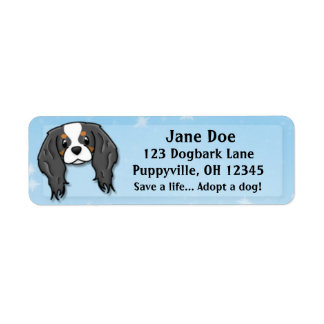 Kawaii Tricolor Cavalier King Charles Spaniel Label