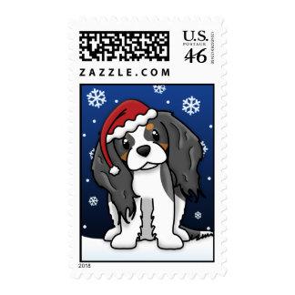 Kawaii Tricolor Cavalier Spaniel Christmas Postage Stamp