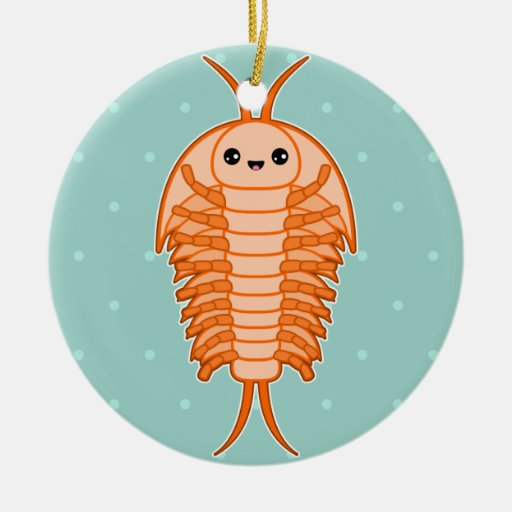 Kawaii trilobite Double-Sided ceramic round christmas ornament