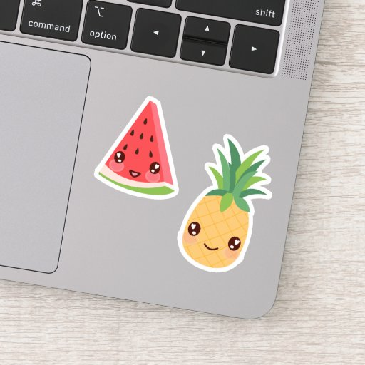 Kawaii Tropical Fruit Duo | Watermelon & Pineapple Sticker