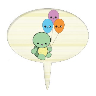 Kawaii Turtle with Balloons cake topper