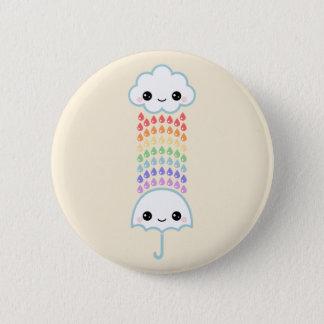 Kawaii Umbrella with Rain Pinback Button